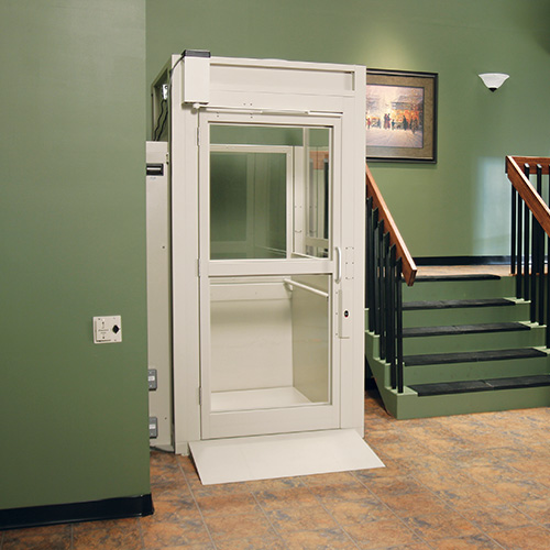 Savaria commercial outdoor vertical platform lift for Indoor elevator